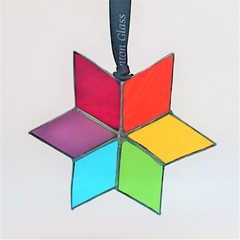 Colour Me Rainbow Star // Stained Glass Ornament 11.5x11.5cm