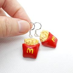 French Fries dangle earrings, hot chips earrings, Mini food jewellery