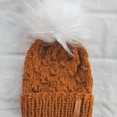 VARPU BEANIE - FITS BABY 3 TO 6 MONTHS OLD - Rustic Mustard