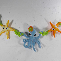 Octopus and Starfish Felt Embroidered Wall Hanging Bunting Banner