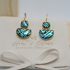 Dual Shape Gold Plated 925 Silver Earrings - Electric Teal & Black Stripe