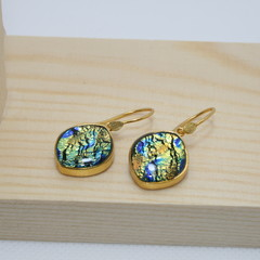 Ovoid Gold Plated 925 Silver Earrings - Gold & Blue Ripple