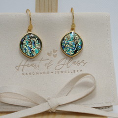 Ovoid Gold Plated 925 Silver Earrings - Teal, Blue & Gold Ripple