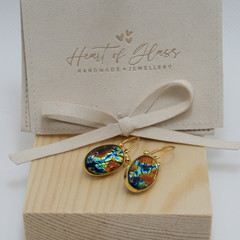 Oval Gold Plated 925 Silver Earrings - Amber & Blue Ripple