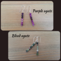 Agate drop earrings - Rose, Blue, Purple, Picasso, Fossil and Blood agate