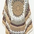 Crochet Asymmetrical Circular Poncho / Shawl  in shades of brown
