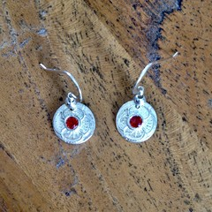 Recycled Silver textured Earrings with Swarovski crystals