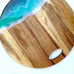 PRIVATE ISLAND - ROUND TURQUOISE RESIN CHEESE BOARD