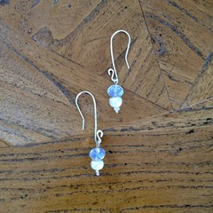 Recycled Silver, pearl and opacity drop earrings