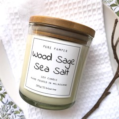 Highly Scented Soy Candle - Wood Sage & Sea Salt