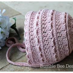 Crochet Baby Heirloom Bonnet in Soft pink, Wool, Cashmere & silk, 0-3 months