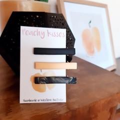 Marbled Peach - Hair slides trio pack