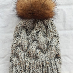 BULKY CABLE BEANIE - Older child/Adult - Grey with black & beige fibres/flecks