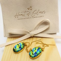 Oval Threader Earrings - Gold Plated 925 Silver - Blue & Gold Ripple