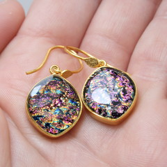 Ovoid Gold Plated 925 Silver Earrings - Pink, Gold & Black Speckle