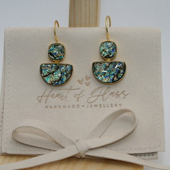 Dual Shape Gold Plated 925 Silver Earrings - Electric Teal & Gold Speckle