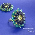 Lotus Ring - Dark purple and teal green flower ring. Bead stitch work.