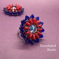 Lotus Ring - Cobalt blue and cherry red flower ring.  Bead stitch work.