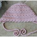 Crochet Baby Heirloom Bonnet in Soft pink, Wool, Cashmere & silk, 0-3 months