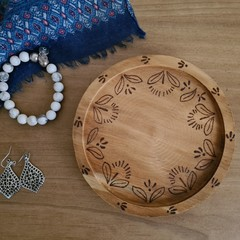 Wooden Dish - Retro Floral design