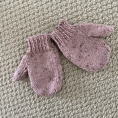 Pink Mittens Size 1-2 years - hand knitted