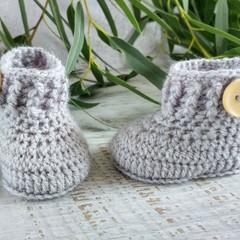 Pale Grey Handmade Crochet Baby Booties Pregnancy Announcement Baby Reveal