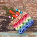 Crochet bag, rainbow, free bunny of your choice