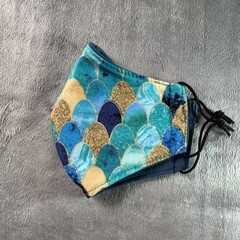 Cotton Face Mask - MERMAID SCALES - Blue/Teal/Gold