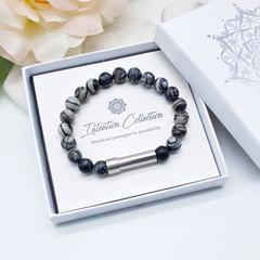 Black Netstone Beaded Intention Bracelet | Black & White Wish Bracelet |