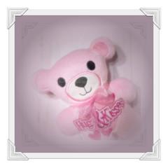 Pink plush minky teddy bear, Australian made