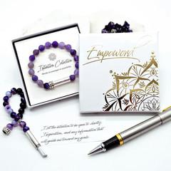 Purple Agate Beaded Intention Bracelet | Wish Bracelet | Secret Message Bracelet