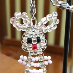 Bunny beaded keyring