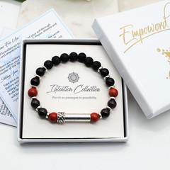 Mens Beaded Intention Bracelet | Black Lava, Garnet, Obsidian & Red Jasper Beade