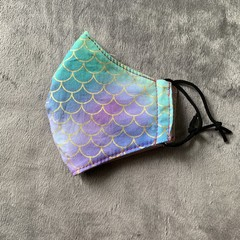 Cotton Face Mask - MERMAID SCALES - Pink/purple/blue/green