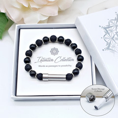 Black lava & Obsidian Beaded Intention Bracelet | Wish Bracelet | Secret Message