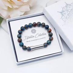 Turquoise Jasper Beaded Intention Bracelet | Sea Sediment Jasper Wish Bracelet |