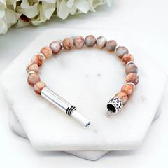 Peach Netstone Beaded Intention Bracelet | Wish Bracelet | Secret Message