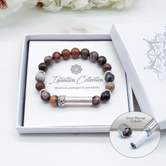 Petrified Wood Beaded Intention Bracelet | New Beginnings Wish Bracelet | Secret