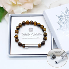 Tiger Eye Beaded Intention Bracelet | Wish Bracelet | Secret Message Bracelet |