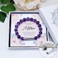 Amethyst Wish Bracelet for Mother | Personalised Jewellery | Custom Secret Messa