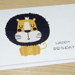 Kids Birthday cards - lion monkey giraffe