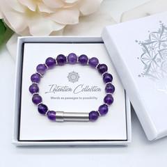 Amethyst Beaded Intention Bracelet | Wish Bracelet | Secret Message Bracelet |