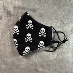 Cotton Face Mask - Black Skull & Cross Bones