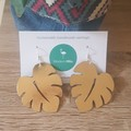 Genuine Leather Monstera Earring
