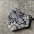 Cotton Face Mask - Blue Flowers