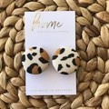 Recycled Nude Animal Print Leopard Print Stud Earrings | Mother's Day |