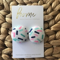 Recycled Sprinkle Blue Pink Fabric Stud Earrings | Hundreds and Thousands