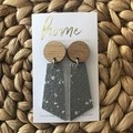 Recycled Grey Terrazzo Linoleum Laminate and Timber Dangle Earrings