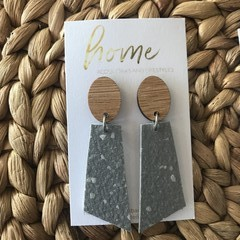 Recycled Grey Terrazzo Linoleum Laminate and Bamboo Dangle Earrings