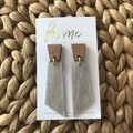Recycled Pale Grey Timber Look Linoleum Laminate and Bamboo Dangle Earrings